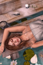Preview iPhone wallpaper Fantasy girl sleep at lakeside, pier, flowers, violin