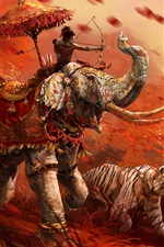 Preview iPhone wallpaper Far Cry 4, tiger, archer, elephant