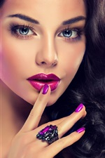 Preview iPhone wallpaper Fashion girl, makeup, face, lip, hands