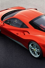 Preview iPhone wallpaper Ferrari 488 GTB red supercar top view