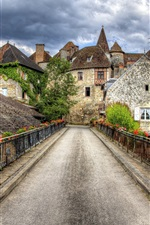 Preview iPhone wallpaper France, Carnac, bridge, road, city, houses, clouds