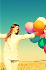 Preview iPhone wallpaper Freedom girl in summer, colorful balloons