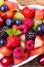 Preview iPhone wallpaper Fresh fruit, berries, strawberry, grapes, cherry, blueberries, raspberry