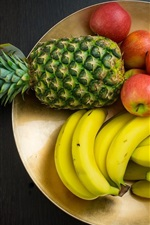 Preview iPhone wallpaper Fruit photography, pineapple, banana, apples