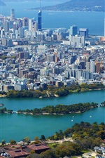 Preview iPhone wallpaper Fukuoka, Japan, city, houses, lake, park, sea