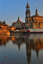 Preview iPhone wallpaper Germany, Dresden, city, building, bridge, river, sunset