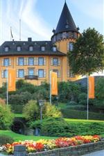Germany, Genovevaburg, Mayen town, castle, grass, garden