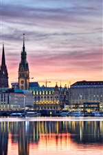 Preview iPhone wallpaper Germany, Hamburg, buildings, lights, evening, river, boats, water reflection, sunset