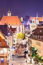 Preview iPhone wallpaper Germany, Nuremberg, city, street, houses, lights, night