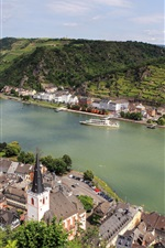 Preview iPhone wallpaper Germany, Sankt Goar, city, mountains, river, boats