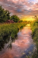 Preview iPhone wallpaper Germany nature scenery, grass, trees, field, river, clouds, sunset