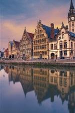 Preview iPhone wallpaper Ghent, Belgium, river, houses, dusk