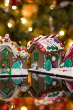 Preview iPhone wallpaper Gingerbread houses, food, lights, Christmas