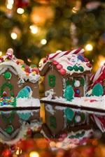 Gingerbread, casas, alimento, luzes, Natal