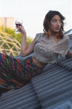 Preview iPhone wallpaper Girl drink wine on roof