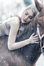 Preview iPhone wallpaper Girl riding a horse sleep, winter, snow
