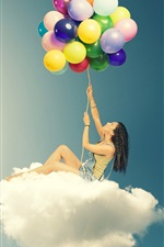 Preview iPhone wallpaper Girl sitting on clouds, colorful balloons, creative design
