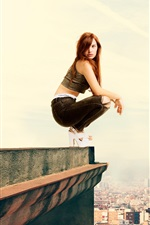 Preview iPhone wallpaper Girl standing at roof side, height, city