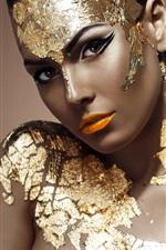 Golden dress girl, model, makeup