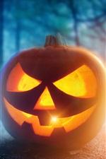 Preview iPhone wallpaper Halloween, pumpkin lantern, face, night, trees