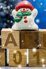 Preview iPhone wallpaper Happy 2017, New Year, snowman, toy, snowflakes