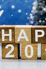 Preview iPhone wallpaper Happy 2017, New Year theme, wooden cubes, Christmas Santa