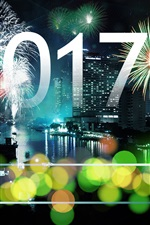 Preview iPhone wallpaper Happy New Year 2017, fireworks, city, skyscrapers, bokeh