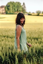 Preview iPhone wallpaper Happy girl in the summer wheat field