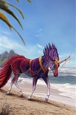 Preview iPhone wallpaper Horse at beach, sea, horn, art picture