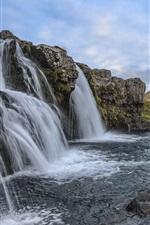 iPhone壁紙のプレビュー アイスランド、滝、山