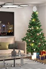 Preview iPhone wallpaper Interior design, Christmas tree, pillow, sofa, window, living room