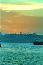 Preview iPhone wallpaper Istanbul, Turkey, Bosphorus, lighthouse, boats, dusk