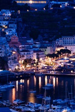 Italy, Positano, Sorrento, pier, night, yachts, boats, houses, lights