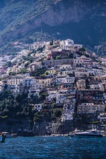 Preview iPhone wallpaper Italy, Positano, mountains, houses, sea, boats