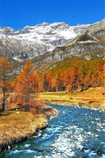Preview iPhone wallpaper Italy nature scenery, trees, snow, mountains, river, autumn