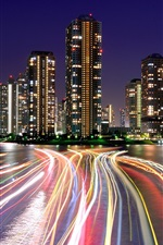 Preview iPhone wallpaper Japan, Tokyo, evening, lights, skyscrapers, city, night