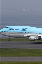 iPhone обои Korean Air, Boeing 747 самолет