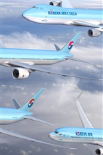 Preview iPhone wallpaper Korean Air, four planes flight in sky