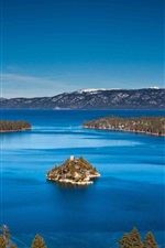 Preview iPhone wallpaper Lake Tahoe, California, USA, mountains, island, blue sky