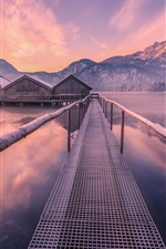 Lake, houses, bridge, mountains, winter, snow, dusk