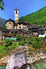 Preview iPhone wallpaper Lavertezzo, Switzerland, Ticino, houses, mountains, river