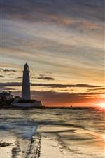 Lighthouse, sunset, sea, clouds, sun rays