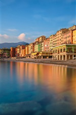 Liguria, Italy, sea, coast, houses, dusk
