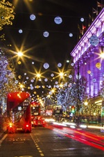 Preview iPhone wallpaper London, England, city street, Christmas, holiday lights