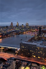 London, St Paul's Cathedral, skyscrapers, river, houses, bridge, lights