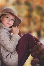 Preview iPhone wallpaper Lovely child girl portrait, autumn, hat