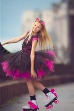 Preview iPhone wallpaper Lovely little girl, street, purple skirt