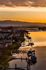 Preview iPhone wallpaper Maple Ridge, British Columbia, Canada, lake, boats, houses, sunset, mountains