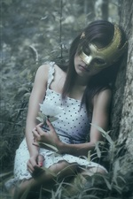 Preview iPhone wallpaper Mask girl in forest, sleep