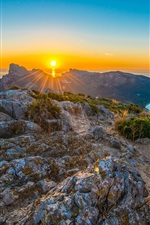 Mediterranean Sea, Spain, Majorca, mountains, sea, sunrise